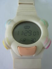 SQW100 Swatch - 1999 Beat Site White Digital Alarm Stop Swiss Made Authentic