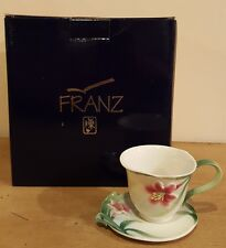 Franz porcelain Tea Cup and Saucer in the Autumn Lily pattern In box