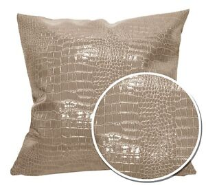 pd1007a Tan Faux Crocodile Glossy Leather Cushion Cover/Pillow Case*Custom Size