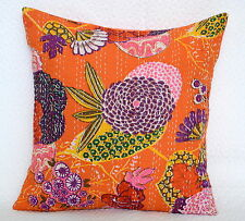 40cm Cushion: Cover India Hand Made Floral 100% Cotton Embroidered Pillow Kantha