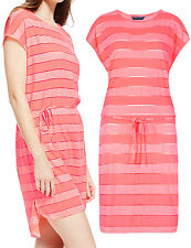 NEW - EX MARKS AND SPENCER CORAL STRIPE BURNOUT BEACH DRESS - SIZES 10 12 14