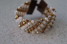 NEW Chan Luu Gold Silver White Faceted Swarovski Crystal Cuff Wrap Bracelet