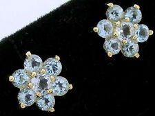 E058- Timeless Genuine 9ct Yellow Gold Natural Topaz Blossom Stud Earrings
