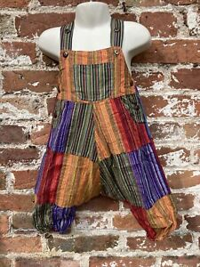 Baby patchwork dungarees age 12-18 Months handmade hippie, boho, festival