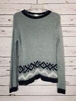 J.Jill Women's XS Extra Small White Gray Fair Isle Soft Cozy Fall Winter Sweater
