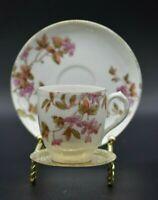 Jean Pouyat JPL France Limoges Pink Flowers & Gold Cup & Saucer Set