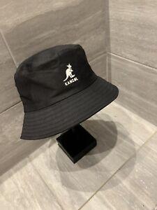 Unisex Black Kangol Bucket Hat  Size L Retro 1990s Summer Fashion