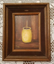Vintage Primitive Style Painting of Butter Churn with Wood Frame