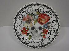 "222 Fifth Marbella Skull Halloween 10.75 "" Appetizer Cake Plate Pedestal Stand"