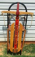 """Vintage  ROCKET PLANE 46"""" Wooden & Metal Sled By American Acme Co. # 245"""