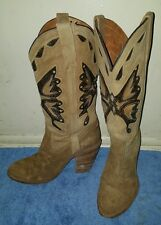 Vintage Miss Capezio Butterfly Western Cowboys Boots Shoes Suede Leather 6.5