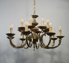 Antique Vintage Bronze 16 Light Chandelier Grand 2 Tier Ceiling Fixture Lamp