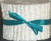 """Jelly Roll Strips Quilting Fabric 20~2.5"""" White on White Floral Tone on Tone"""