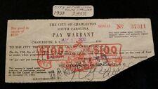 1933 CHARLESTON S.C. Pay warrant