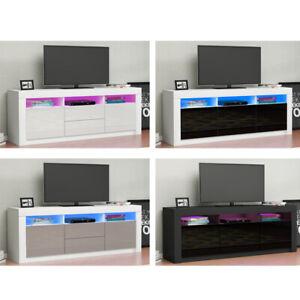 Modern 160cm TV Unit Cabinet Stand - Matt Body & High Gloss Doors RGB LED Lights