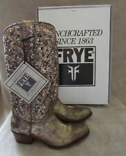FRYE Deborah Gold Studded Vintage Leather Tall Boots Shoes US 8 M EU 38 - 39 NWB