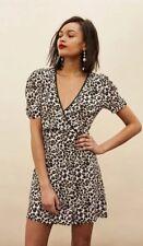 Mini vestido Topshop Leopard Print envolvente Sz8
