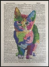 Cat Print Vintage Dictionary Page Art Print Picture Colourful Geometric Animal