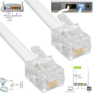1M 2M 3M 5M 10M 15M 20M High Speed  ADSL RJ11 to RJ11 Internet Phone Modem White