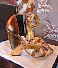 BRAND NEW UNWORN VIVIENNE WESTWOOD LEATHER HIGH HEEL SHOES SZ 34  35 GOLD SILVER