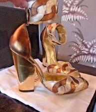 Mai indossato! Vivienne Westwood Scarpe Tacco Alto in Pelle Oro Bronzo Argento taglia 34/35