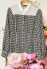 Black White Womens Ladies Collar Shirt Size 12