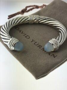 David Yurman Sterling Silver 10mm Cable Moonstone Diamond Cuff Bracelet