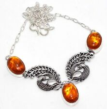 """Amber 925 Sterling Silver Plated Necklace 18"""" Unique Jewelry GW"""