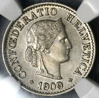 1909 NGC MS 64 Switzerland 5 Rappen BU Swiss Coin (18091505C)