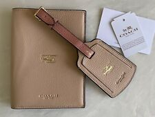 Coach NY Passport Wallet Luggage Tag Set Melon Leather Helicopter