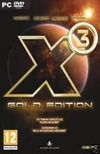 X3 Gold PC DVD Terran Conflict & Reunion 2 sci-fi space aliens strategy games!
