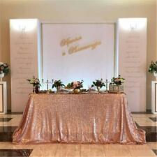 """Rose Gold 50""""x80"""" Rectangle Sequin Tablecloth Sequin Table Covers Wedding"""