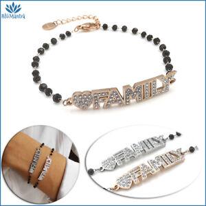 Bracciale da donna con scritta family perle nere in acciaio inox braccialetto a