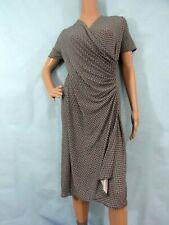 TALBOTS Black & White Geometric Short Sleeve Jersey Mock-wrap Dress, Size 3X