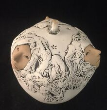 JUDE HOLDSWORTH Three Faces OIL LAMP Porcelain 1992 Curiosity