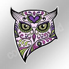 sugar skull owl pink purple car bumper sticker day of the dead 93 x 110 mm decal