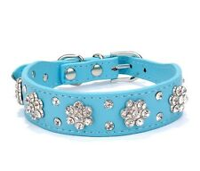 PU Leather Bling Rhinestone Crystal Diamond Puppy Collar Pet Dog Cat Necklace