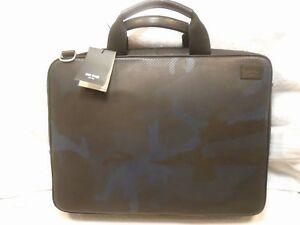 Jack Spade Camo Dots Pattern Leather Slim Briefcase  NWT $498 Black & Navy