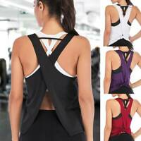 Women Yoga Tops Fitness Tank Vest Open Back T-Shirts Strappy Workout Exercise A7