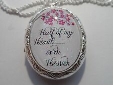 SILVER PLATED MEMORIAL HALF OF MY HEART IS IN HEAVEN LOCKET NECKLACE 26""