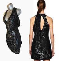 Karen Millen Black Sequin Drape Detail Club Cocktail Party Mini Dress uk 10