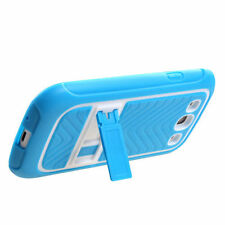 For Samsung Galaxy S III 3 TPU Impact Hard Skin Case Cover Kick Stand Blue White