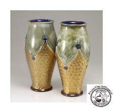Pair of Arts and Crafts Royal Doulton Cobalt Gilt Swirl Pottery Vases