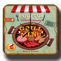 Grille Menu Diner américain rétro boite métal SIGNE Horloge murale