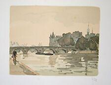 Pont à Paris : Lithographie originale signée de YAN Robert