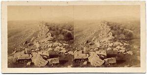 Eugène Sevaistre Girgenti Antiche mura Rare Stereo card Albumen phot 1860c S1085