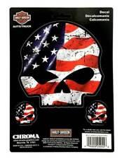 Chroma 25055 Harley-davidson Skull REDWHTBLU 6x8 Stick ONZ Decal