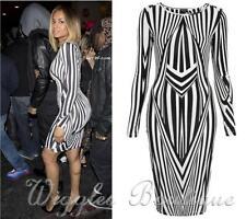 Mid-Calf Stretch, Bodycon Striped Dresses for Women