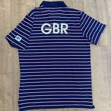 RARE Team GB Olympics Polo T Shirt Official Merchandise Large GBR Blue Striped