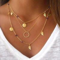EG _ Damen Modeschmuck Choker mehrschichtig Boho Gold Blatt Anhänger Halskette